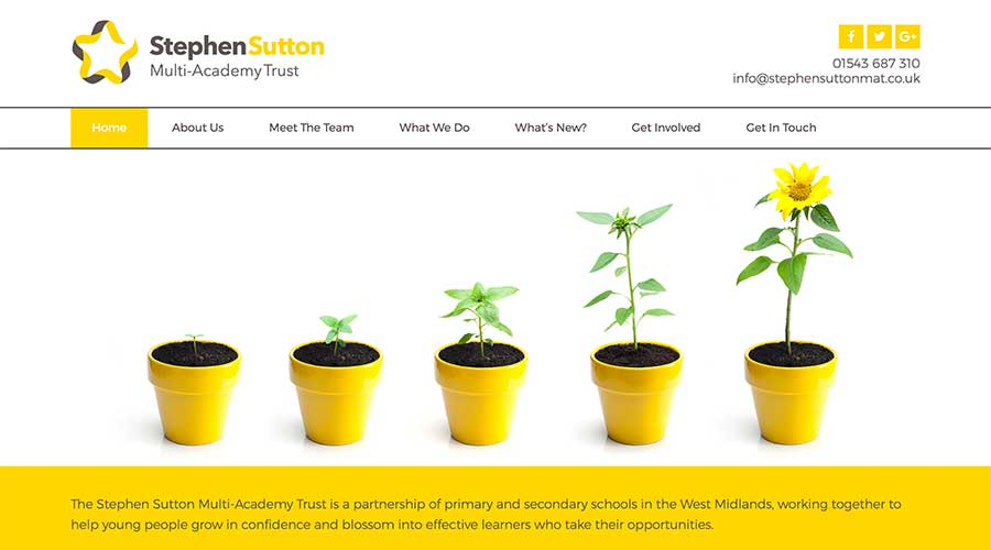 Top of the Stephen Sutton home page including navigation