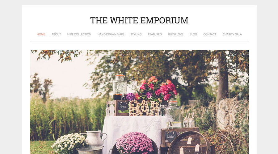 Top of the White Emporium home page including navigation